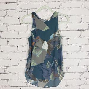 Aritzia Blue Patterned Sleeveless Top